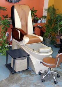 "Nice Spa Pedicure Station Including Electric Massage Chair With Foot Spa & Remote, Model #J51W03DL A-2T, Powers On, Includes Side Table With Accessories, And Rolling Stool, Chair With Spa Measures 56"" x 29.5"" x 56"", Bidder Responsible For Proper Removal,"