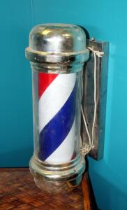 "Electric Barber Shop Pole, Approximately 30"" Tall, And Barbicide Disinfecting Jar"