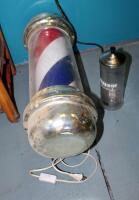 "Electric Barber Shop Pole, Approximately 30"" Tall, And Barbicide Disinfecting Jar - 5"