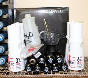 Goldwell TopChic 10, 20, And 40 Developer, Color, Color Bowl, Cleansing Bottle, And Color Tools, Total Qty 18