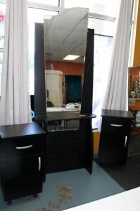 "Salon Stylist Station Including Work Table With Mirror 87"" x 30.5"" x 11"" And Storage Cabinet 32"" x 17"" x 13"", Matches Lots 105 And 106"