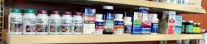 Supplement Assortment Including Acai, Black Cohosh, Hawthorne, Tart Cherry, Quercetine, And More, Qty 39, Contents Of Shelf