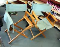 "Wood Framed Folding Directors Chairs, Qty 3, 34"" Tall, May Need Repair"