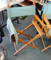 "Wood Framed Folding Directors Chairs, Qty 3, 34"" Tall, May Need Repair - 2"