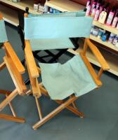 "Wood Framed Folding Directors Chairs, Qty 3, 34"" Tall, May Need Repair - 3"