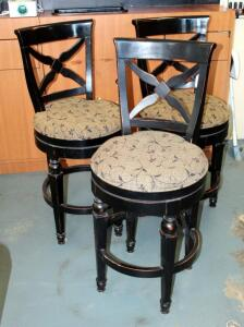 "Hillsdale Furniture Solid Wood Bar Stools With Upholstered Swivel Seats, Qty 3, Seat Back 43.5"" And Seat Height 27.5"""