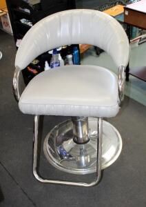 "Adjustable Metal Framed Upholstered Salon Chair Manufactured By P.S. Pibbs, 25"" Wide x 33.5"" Deep, Matches Lot 69"