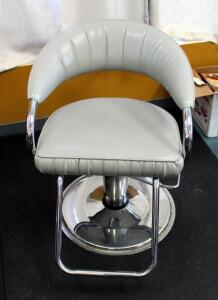 "Adjustable Metal Framed Upholstered Salon Chair Manufactured By P.S. Pibbs, 25"" Wide x 33.5"" Deep, Matches Lot 68"