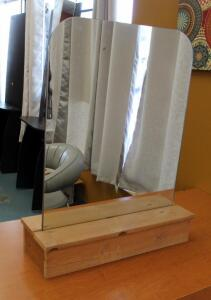 "Double Sided Table Top Salon Mirrors With Wood Bases, Qty 2, 34"" x 26.25"" x 9.5"""