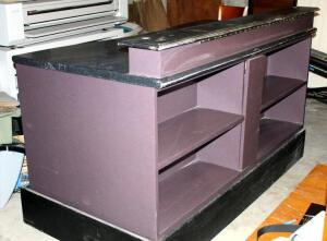 "Custom Built Reception Desk With 4 Front Display Shelves And Built In Electrical Outlets, 44.5"" x 74"" x 38"", CLICK FOR DETAILS"