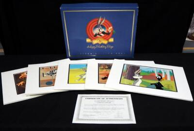 Bugs Bunny 50th Birthday Limited Edition Production Cel Collection, Boxed Set Of 5 Hand-Inked, Hand-Painted Animation Cels, With COA, Numbered 37/500
