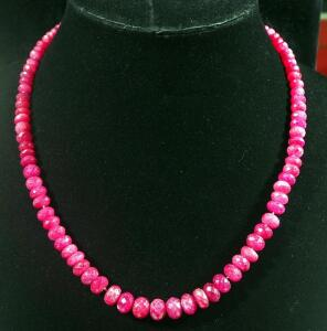"Ruby Necklace, 20"" Long, With 14k Clasp, 57g Total Weight"