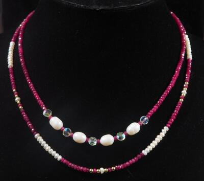 "Two Ruby And Pearl Necklaces, 16"" And 18"" Long, 23g Total Weight"