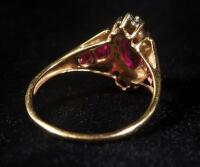 10k Gold Ring, Size 7-3/4, With Red Stones, 3 g Total Weight Including Stones - 2