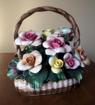 "Capidimonte Porcelain Flower Basket With Handle, 9"" x 8"", Some Petals Broken, Some Chips"