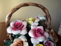 "Capidimonte Porcelain Flower Basket With Handle, 9"" x 8"", Some Petals Broken, Some Chips - 2"