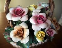 "Capidimonte Porcelain Flower Basket With Handle, 9"" x 8"", Some Petals Broken, Some Chips - 3"