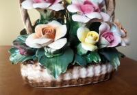 "Capidimonte Porcelain Flower Basket With Handle, 9"" x 8"", Some Petals Broken, Some Chips - 4"