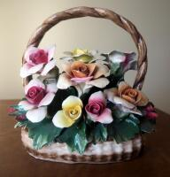 "Capidimonte Porcelain Flower Basket With Handle, 9"" x 8"", Some Petals Broken, Some Chips - 5"