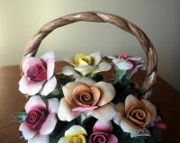 "Capidimonte Porcelain Flower Basket With Handle, 9"" x 8"", Some Petals Broken, Some Chips - 6"