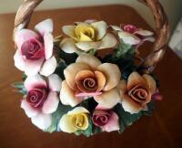 "Capidimonte Porcelain Flower Basket With Handle, 9"" x 8"", Some Petals Broken, Some Chips - 7"