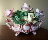 "Capidimonte Porcelain Flower Basket, 9"" x 11"", Some Chips"
