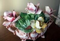 "Capidimonte Porcelain Flower Basket, 9"" x 11"", Some Chips - 2"