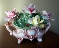 "Capidimonte Porcelain Flower Basket, 9"" x 11"", Some Chips - 4"