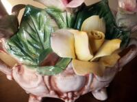 "Capidimonte Porcelain Flower Basket, 9"" x 11"", Some Chips - 7"