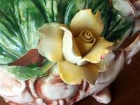 "Capidimonte Porcelain Flower Basket, 9"" x 11"", Some Chips - 9"