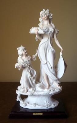 "Giuseppe Armani ""Lady And Child With Flowers"" Cold Cast Porcelain Figurine # 1124-F, 14.5"" x 8"", In Box"