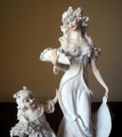 "Giuseppe Armani ""Lady And Child With Flowers"" Cold Cast Porcelain Figurine # 1124-F, 14.5"" x 8"", In Box - 2"