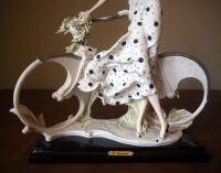 "Giuseppe Armani ""Spring"" (Girl With Bicycle) Cold Cast Porcelain Figurine # 0539-C, 15"" x 12"", In Box - 3"
