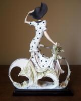 "Giuseppe Armani ""Spring"" (Girl With Bicycle) Cold Cast Porcelain Figurine # 0539-C, 15"" x 12"", In Box - 4"