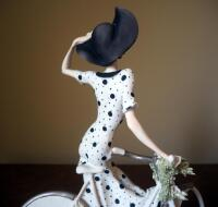 "Giuseppe Armani ""Spring"" (Girl With Bicycle) Cold Cast Porcelain Figurine # 0539-C, 15"" x 12"", In Box - 5"