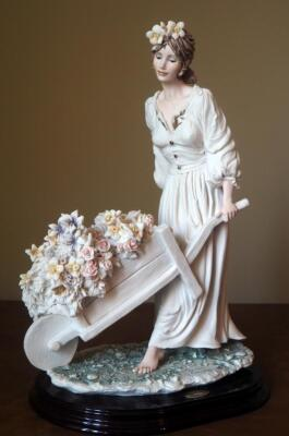"Giuseppe Armani ""Caterina"" (Girl With Wheelbarrow Flowers) Cold Cast Porcelain Figurine # 0287-F, 15"" x 10"", In Box"