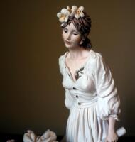 "Giuseppe Armani ""Caterina"" (Girl With Wheelbarrow Flowers) Cold Cast Porcelain Figurine # 0287-F, 15"" x 10"", In Box - 2"
