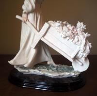"Giuseppe Armani ""Caterina"" (Girl With Wheelbarrow Flowers) Cold Cast Porcelain Figurine # 0287-F, 15"" x 10"", In Box - 6"