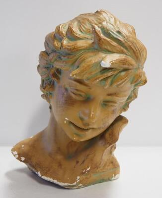 "Bust Of Young Adult, Approx 13"" High, Some Chips And Wear"