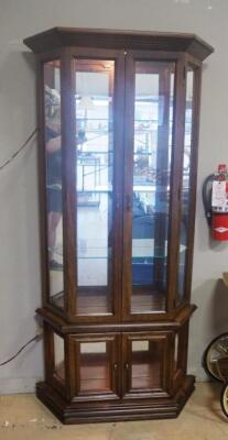 "Illuminated Display Cabinet With 3 Glass Shelves, Mirrored Back And Lower Display Area, 71.5"" H x 35.25"" W x 11.25"" D, Powers On, See Description"