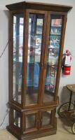 "Illuminated Display Cabinet With 3 Glass Shelves, Mirrored Back And Lower Display Area, 71.5"" H x 35.25"" W x 11.25"" D, Powers On, See Description - 6"