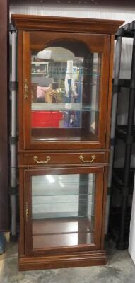 Jasper Cabinet Illuminated 2 Compartment Display Cabinet With Single Drawer Between, Each Compartment Has 2 Glass Shelves, See Description