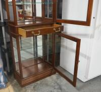 Jasper Cabinet Illuminated 2 Compartment Display Cabinet With Single Drawer Between, Each Compartment Has 2 Glass Shelves, See Description - 5
