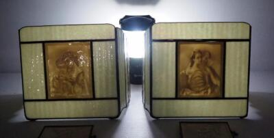 Vintage Lithophane Sconce Covers Qty 2 And Lithophane Panels With Chains Qty 2, Images Appear When Backlit