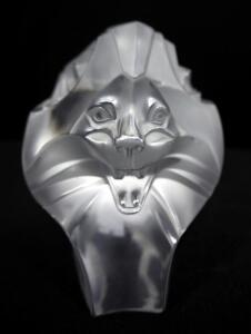 "Lalique Crystal ""King Lion Head"" Figurine, Signed On Bottom, 3"" High"
