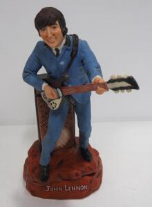 "Musical John Lennon Ceramic Decanter By Gary Schildt, 16"" High, Plays ""I Want To Hold Your Hand"""