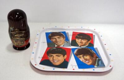 Beatles 5-Part Nesting Doll Set, Includes All 4 Beatles Members And A Beetle, And A Metal Repro Beatles Serving Tray