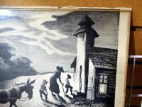 "Autographed Thomas Hart Benton (American, 1889-1975) Lithograph Of ""Prayer Meeting"" (Study For Wednesday Evening), With Glass Pane, See Descrip - 4"
