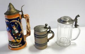 Stein Collection, 1 Is Porcelain With Music Box Bottom Insert, 1 With Crock Design, And 1 Glass, Total Qty 3