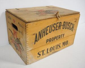 "1944 Anheueser-Busch Wood Bottle Crate With Strapped Hinge Lid, Holds 24- 12 oz Bottles, 10.25"" High x 17"" Wide x 11.5"" Deep"